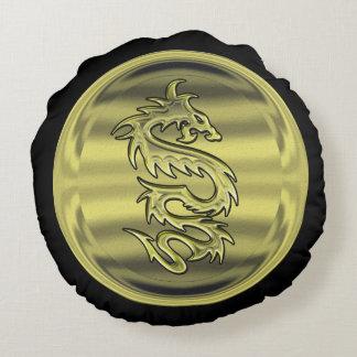 Gold Dragon coin Round Pillow