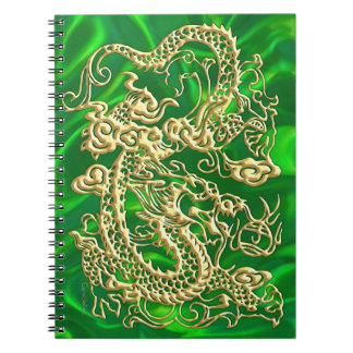 Gold Dragon Green Satin Lush Gold Notebook