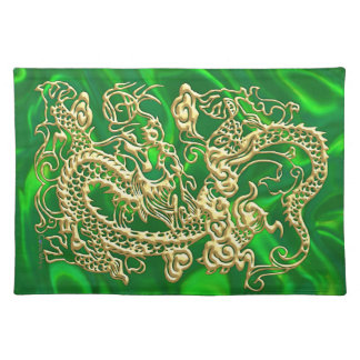 Gold Dragon Green Satin Lush Placemat