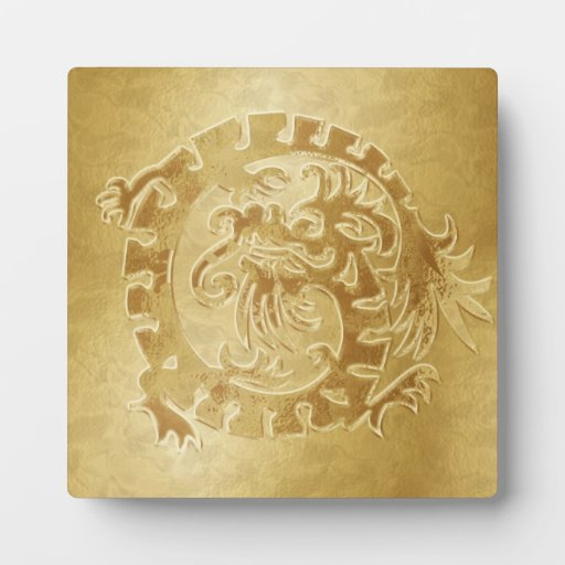 Gold Dragon Icon on Gold - 1 - Plaque