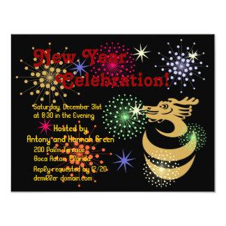 Gold Dragon in Egg Fireworks Custom RSVP Invitatio 4.25x5.5 Paper Invitation Card