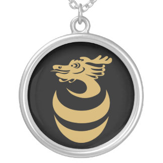 Gold Dragon in Egg Necklace