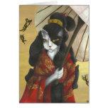 Gold Dragon Kimono Cat card
