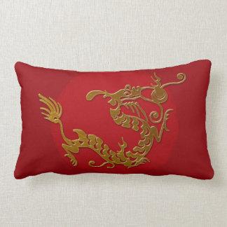 gold dragon lumbar pillow