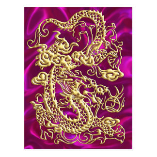 Gold Dragon Magenta Satin Lush Gold Card