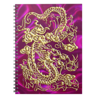 Gold Dragon Magenta Satin Lush Gold Notebook