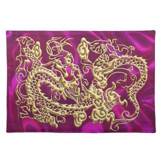 Gold Dragon Magenta Satin Lush Placemat