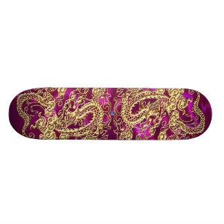 Gold Dragon Magenta Satin Lush Skateboard