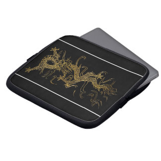 Gold Dragon on Black Asian-styled Laptop Sleeve