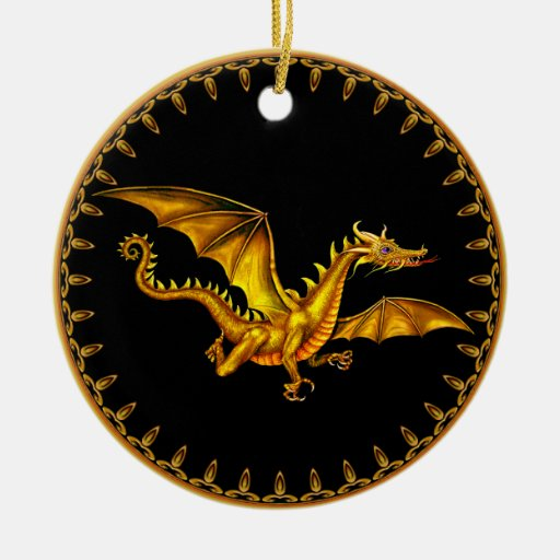 gold dragon on black Double-Sided ceramic round christmas ornament