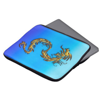 Gold Dragon on Blues Asian-styled Laptop Sleeve