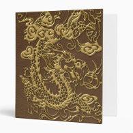 Gold Dragon on Brown Leather Texture Binder (<em>$21.95</em>)