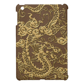 Gold Dragon on Brown Leather Texture iPad Mini Cases