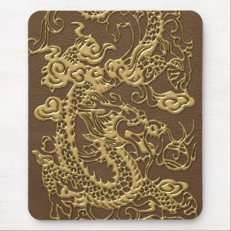 Gold Dragon on Brown Leather Texture Mousepads