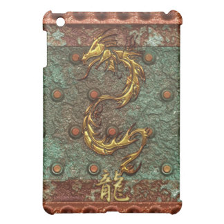 Gold Dragon on Corroded Metal-look iPad Case