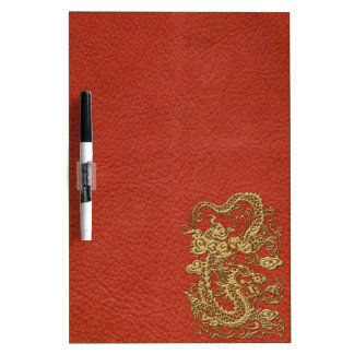 Gold Dragon on Deep Coral  Leather Texture Dry-Erase Boards