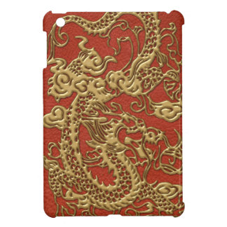 Gold Dragon on Deep Coral  Leather Texture iPad Mini Cover