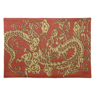 Gold Dragon on Deep Coral  Leather Texture Placemat