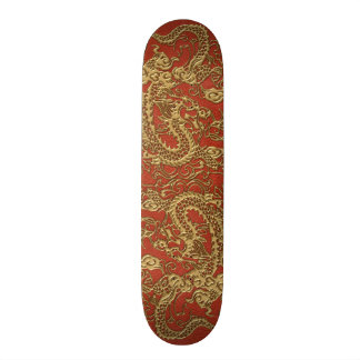 Gold Dragon on Deep Coral Leather Texture Custom Skateboard