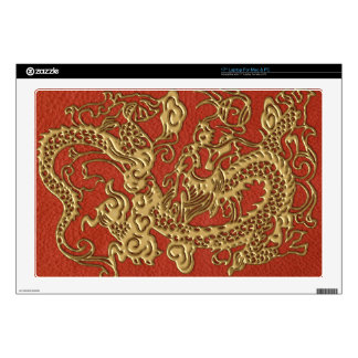 """Gold Dragon on Deep Coral  Leather Texture Decals For 17"""" Laptops"""