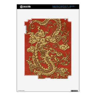 Gold Dragon on Deep Coral  Leather Texture Skins For iPad 3