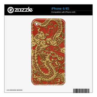 Gold Dragon on Deep Coral  Leather Texture Skins For The iPhone 4S