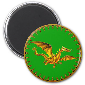 gold dragon on green 2 inch round magnet