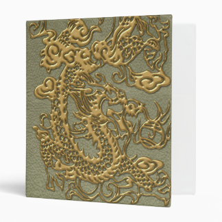 Gold Dragon on Khaki Leather Texture Binder