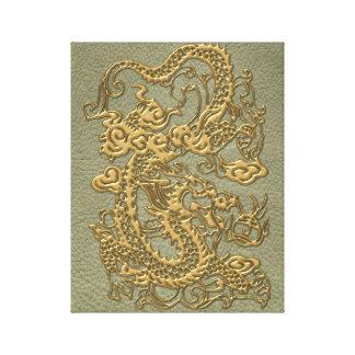 Gold Dragon on Khaki Leather Texture Canvas Print