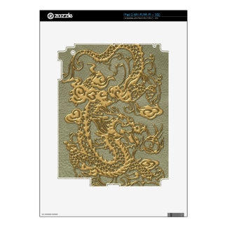 Gold Dragon on Khaki Leather Texture iPad 2 Decal