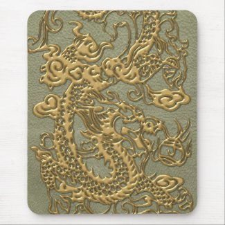 Gold Dragon on Khaki Leather Texture Mouse Pads