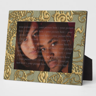 Gold Dragon on Khaki Leather Texture Plaques