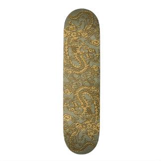 Gold Dragon on Khaki Leather Texture Skateboards