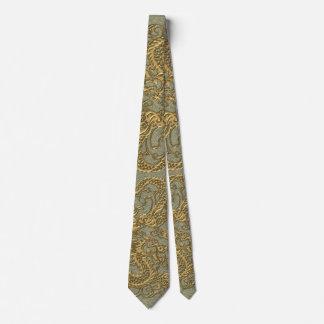 Gold Dragon on Khaki Leather Texture Tie