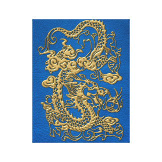 Gold Dragon on Lapis Blue Leather Texture Canvas Print