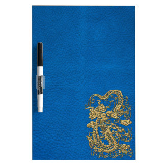 Gold Dragon on Lapis Blue Leather Texture Dry-Erase Board