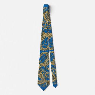 Gold Dragon on Lapis Blue Leather Texture Neck Tie