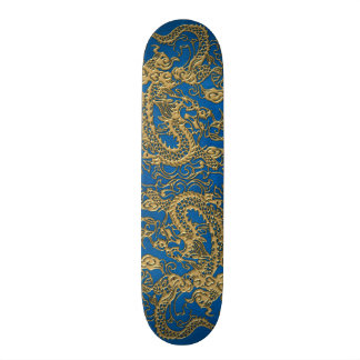 Gold Dragon on Lapis Blue Leather Texture Skate Deck