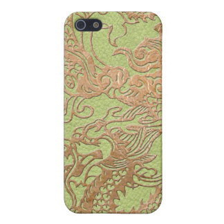 Gold Dragon on Leather Print Case For iPhone SE/5/5s