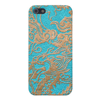 Gold Dragon on Leather Print Cover For iPhone SE/5/5s