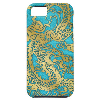 Gold Dragon on Leather Print iPhone SE/5/5s Case