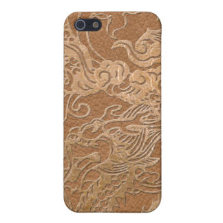 Gold Dragon on Leather Print iPhone SE/5/5s Cover