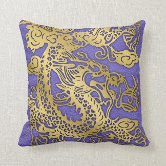 Gold Dragon on Leather Print Throw Pillow