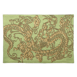 Gold Dragon on Lime Green Leather Texture Cloth Placemat