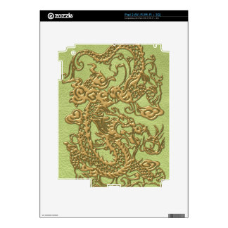 Gold Dragon on Lime Green Leather Texture Decal For The iPad 2