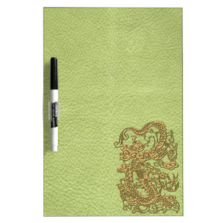 Gold Dragon on Lime Green Leather Texture Dry Erase Boards