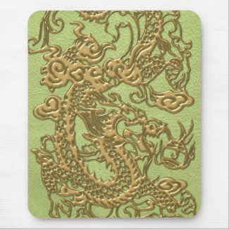 Gold Dragon on Lime Green Leather Texture Mouse Pads