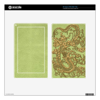 Gold Dragon on Lime Green Leather Texture Skin For Kindle Fire