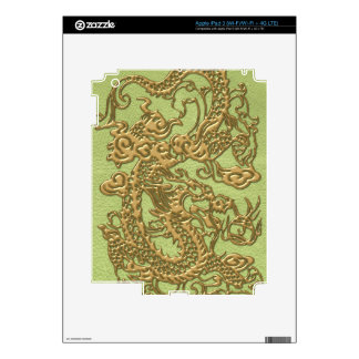 Gold Dragon on Lime Green Leather Texture Skin For iPad 3