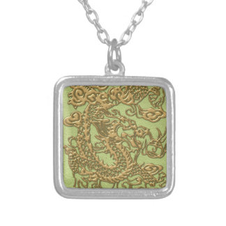 Gold Dragon on Lime Green Leather Texture Square Pendant Necklace